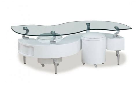 Glass Top Storage Coffee Table And Ottomans In White Color