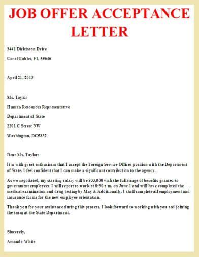 job offer acceptance letter letter pinterest job