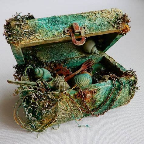 altered wooden box mixed media sea theme crackle paste