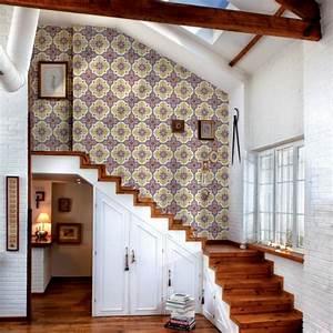 le motif carreaux de ciment dans l39interieur With papier peint entree maison