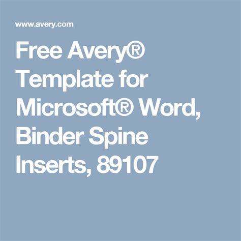 Free Avery® Template for Microsoft® Word, Binder Spine ...