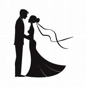 Wedding couples in silhouette SVG Marriage Bride and groom ...