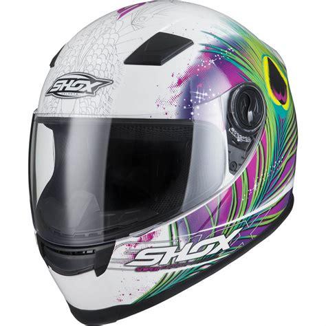 ladies motorcycle helmet shox sniper peacock full face ladies motorbike helmet