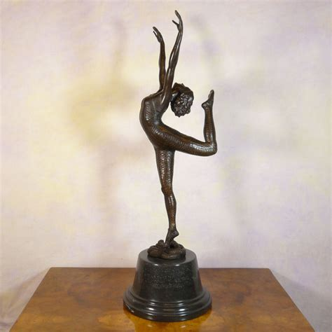 deco bronze statue snake dancer sculptures