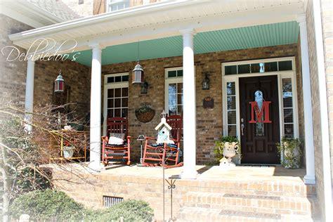 rustic porch southern porch painted haint blue debbiedoos