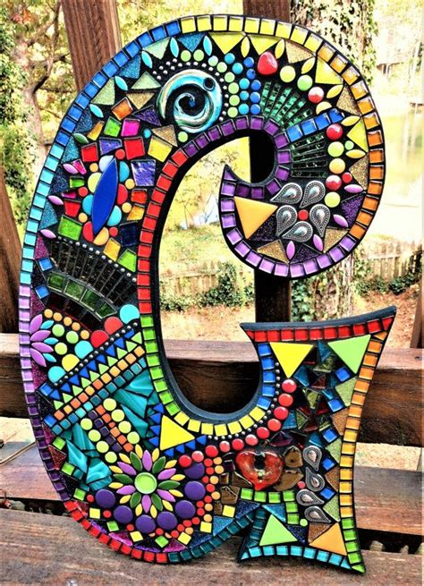 mosaic letter  gorgeous wild funky  tina atwisecrackinmosaics mosaic art mosaic