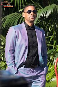 will smith dapper in purple on the set of 39 bad boys for