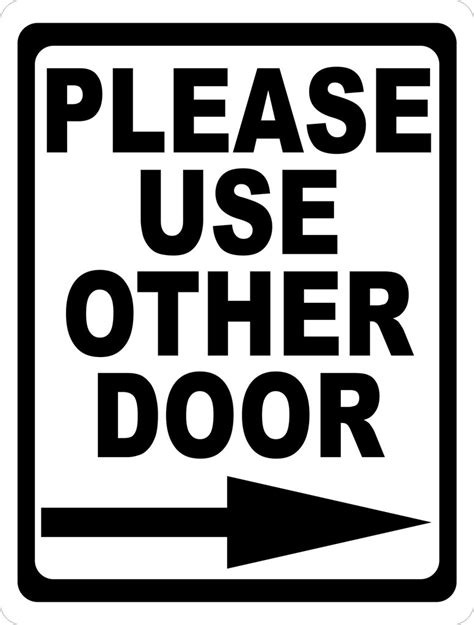use other door sign use other door with right or left arrow sign