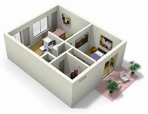 Small apartment design for live work 3d floor plan and tour for Small apartment floor plans 3d