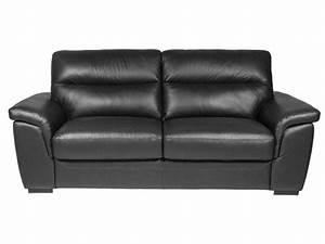 canape fixe 2 places en cuir giovanni coloris noir vente With canape cuir 2 places noir
