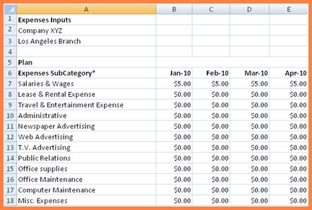 business expenses spreadsheet template excel