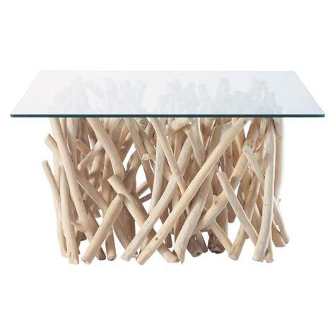 table basse en verre et teck l 90 cm rivage maisons du monde