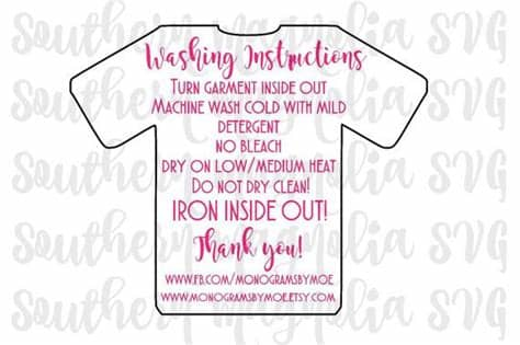 Include these cute washing instructions cards with your packaging to washing instructions card template for printed tshirts care | etsy. Pin on Vinyl / Embroidering Projects