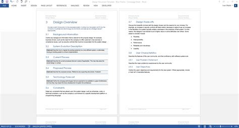 Design Document Template Design Document Ms Word Template