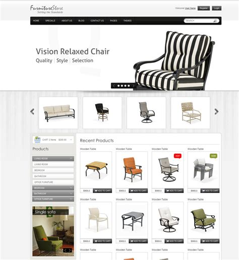 furniture website templates web graphic design