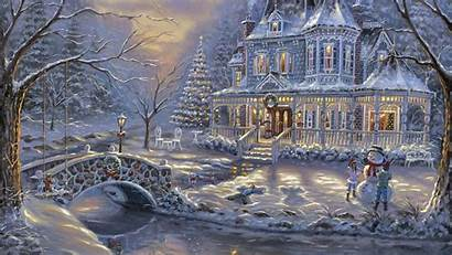 Christmas Victorian Scenes Scene Wallpapers Painting Merry