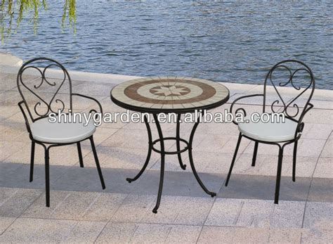 mosaic tile tabletop metal folding chairs outdoor patio