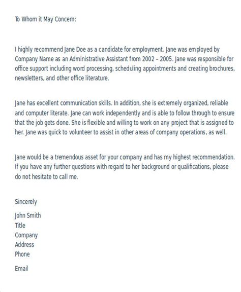write  formal reference letter