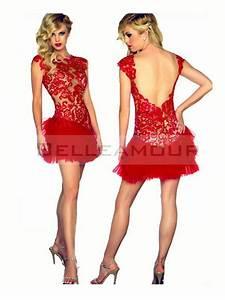 Robe De Mariée Dos Nu Plongeant : robe de cocktail de luxe rouge dos nu dentelle organza courte ~ Melissatoandfro.com Idées de Décoration