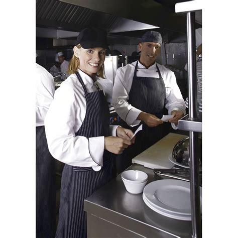 tablier de cuisine noir tablier cuisine à bavette rayures étroites noir blanc coton
