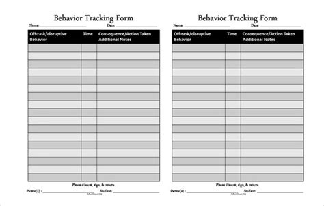 behavior tracking templates  sample