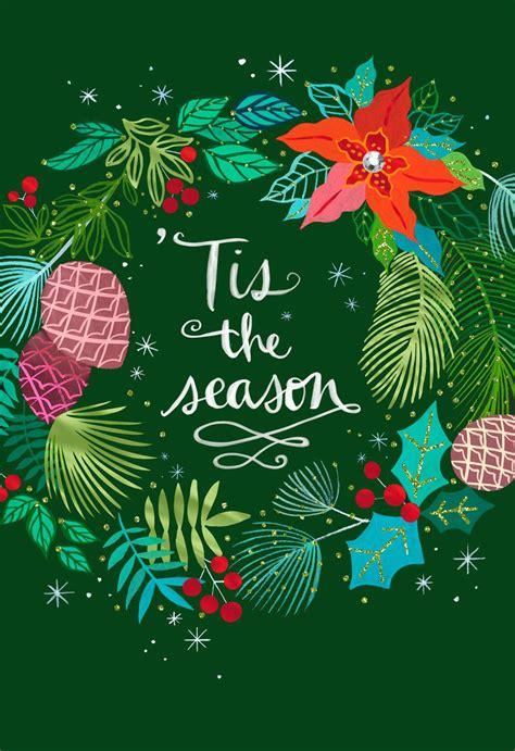 tis  season festive wreath christmas card greeting