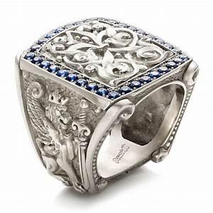 Fleur de Lis Hand-carved Blue Sapphire Men's Ring #101509