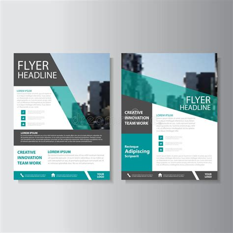 Blue And Green Vector Brochure Flyer Design Template Presentation Flyer Template Blue Green Purple Triangle