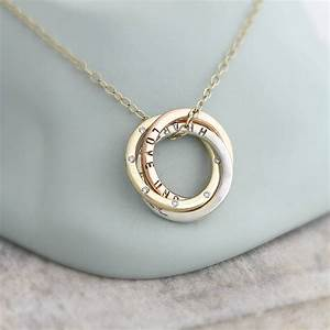 Personalised 9ct gold russian diamond necklace by posh for Wedding ring necklace