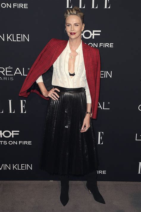 charlize theron attends elles  annual women leather