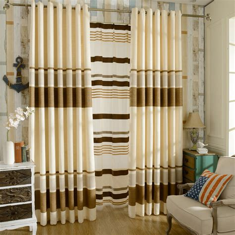 beautiful brown beige chenille striped curtains for bedroom