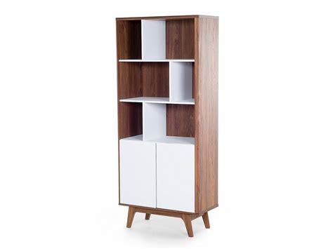 Bookcase White Tall Wood Varnish 6 Shelves 2 Cabinets Ebay