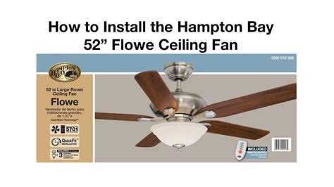how to install hton bay ceiling fan how to install a ceiling fan flowe youtube
