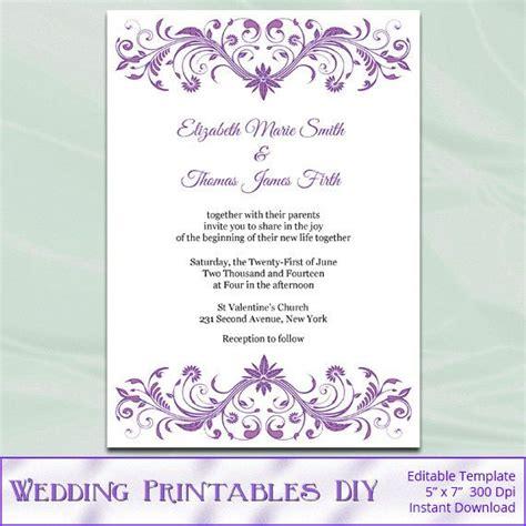 wisteria wedding invitation template diy lavender purple