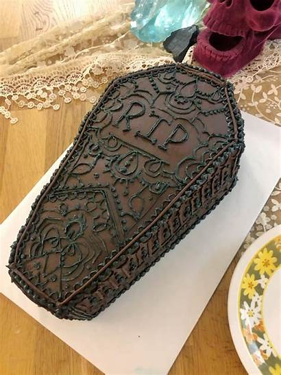 Funeral Cake Coffin Birthday Themed 30th Yellow
