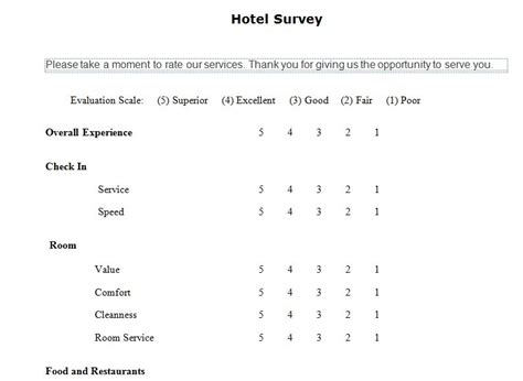 hotel guest survey hotel guest satisfaction survey