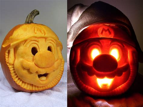 pumpkin carving mario mario pumpkin 27 geeky pumpkins to inspire your halloween decor popsugar tech