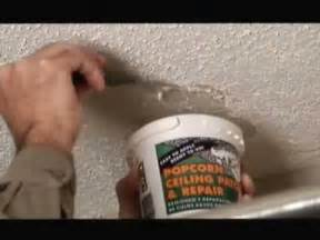 popcorn ceiling patch repair video how to save money and