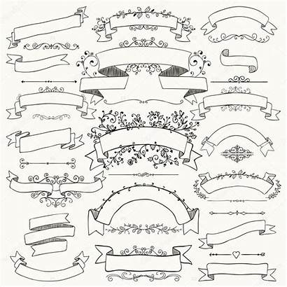Drawn Hand Banners Floral Ribbons Illustration Vector