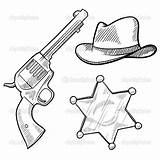 Sheriff Cowboy Coloring Pages Badge Western Star West Wild Objects Gun Hat Sketch Callie Saloon Vector Doodle Cowboys Illustration Template sketch template