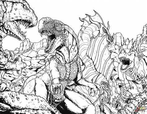 When Kaiju Worlds Collide 3 Coloring Page