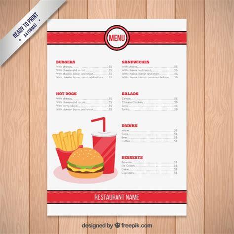 Restaurant Menu Template Free by Fast Food Restaurant Menu Template Vector Free