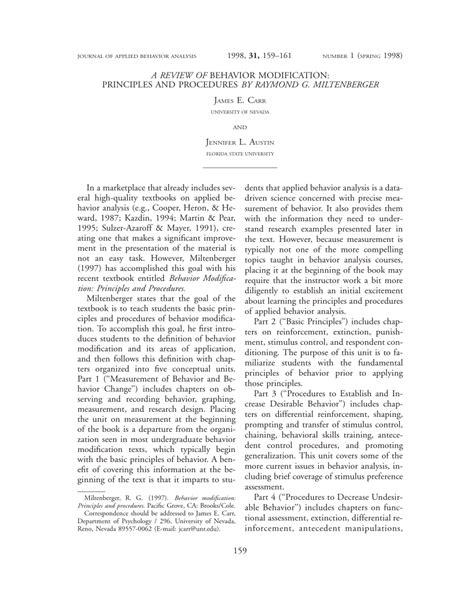 Behavior Modification Miltenberger Pdf by Pdf A Review Of Behavior Modification Principles And