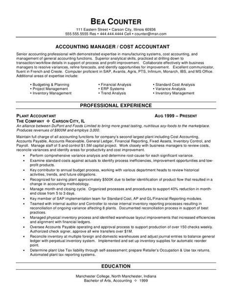 Accounting Resume Objective by Senior Accountant Resume Sle Professional Sles Prime