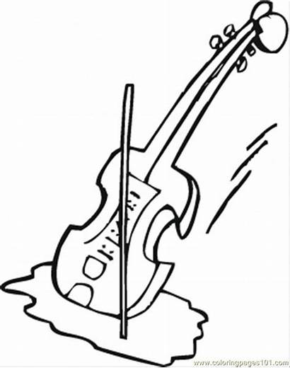 Violin Coloring Clipart Pages Clip Outline Instruments