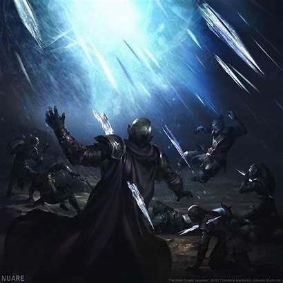 Fantasy Magic Knight Warrior Ice Storm Battle