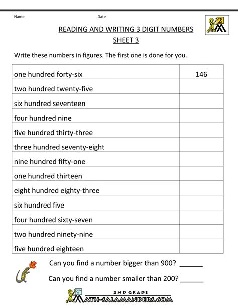free place value worksheets reading and writing 3 digit