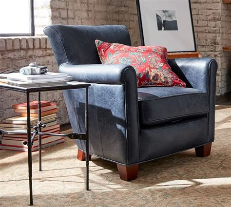 irving roll arm leather armchair pottery barn