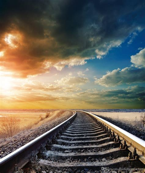 railway scenic picture background autumn scenery blue