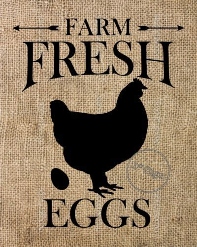burlap sign farm fresh eggs rustic primitive wall art